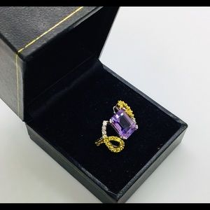 Jewelry - Ladies Amethyst, Sapphire and Diamond Ring